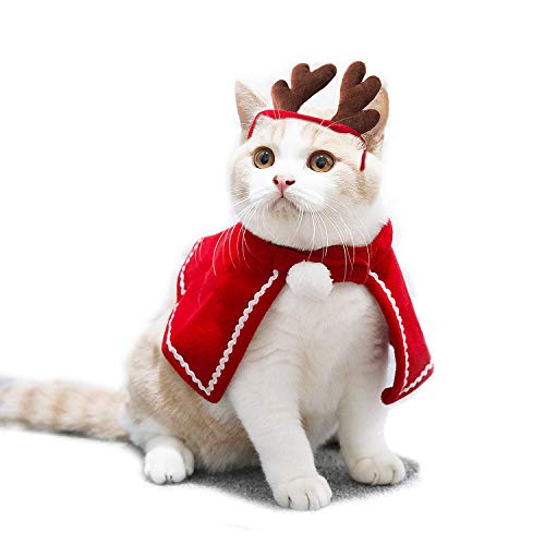 Aviling Cat Dog Puppy Santa Small Umhang Red Hat Stirnband Weihnachten Halloween Festival Cosplay Kostüme, M -