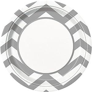 Placas Partido Ênico 23 cm Party Chevron (paquete de 8, Plata)