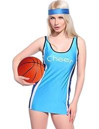 maboobie Robe D'ete Courte Sans Manche Style Debardeur Long Cheerleader Joueuse Costume Bleu M (34-36)