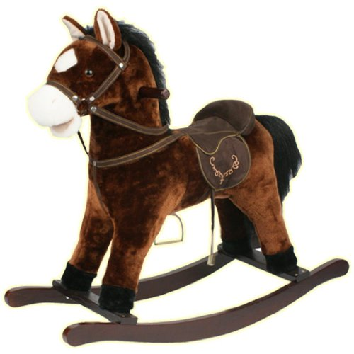Rocking Horse Kids Toy Play Pony Moving Mouth Sounds Children Boys Girls Rocker (Dark Brown)