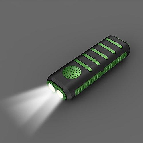 Preisvergleich Produktbild ELINKUME USB wiederaufladbare Taschenlampe, 5600mAh Power Bank 2W 200lm Hi-Fi Bluetooth Lautsprecher TF Speicherkarte Taschenlampe für Outdoor-Beleuchtung-Schwarz Grün
