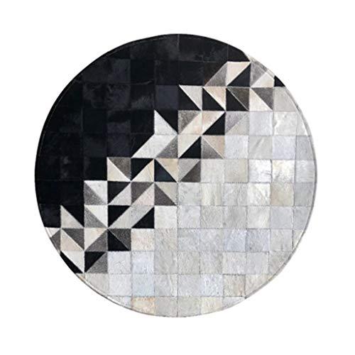 Teppiche Runde Schwarzweiß Mosaik Tisch Und Stuhl Fuß Pad Schlafzimmer Nacht Wohnzimmer Studie Fliesen Büro Dekoration Matte (Color : Gray, Size : 120cm)