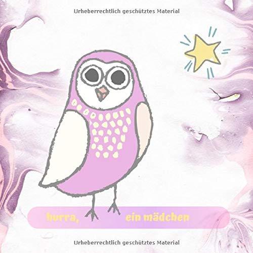 Babyparty Gäste & Erinnerungsbuch Mit 50 Seiten Weißem Papier Zum Ausfüllen - Glänzendes Lila-Weißes Aquarell Softcover 21x21cm Kleine Eule & Stern Design ()