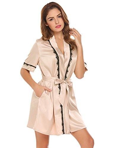 Damen satin Morgenmantel Robe Kimono Bademantel kurzarm Nachthemd Nachtwäsche spitze Schlafanzüge sleepwear Mit Blumenspitze (Kurzarm-kimono)