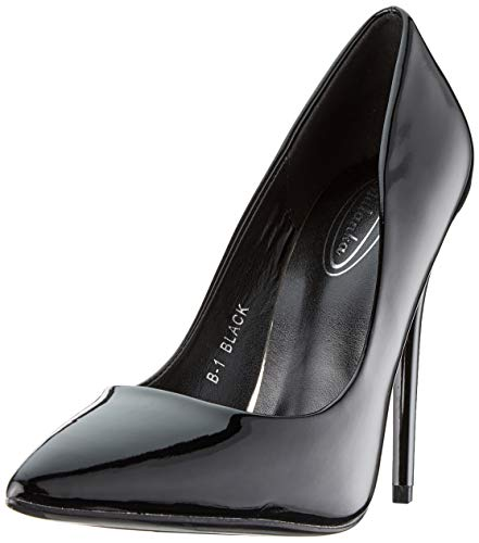 Elara Spitze Damen Pumps | Bequeme Lack Stilettos | Elegante High Heels B-1 Black-40 Black Party Pumps