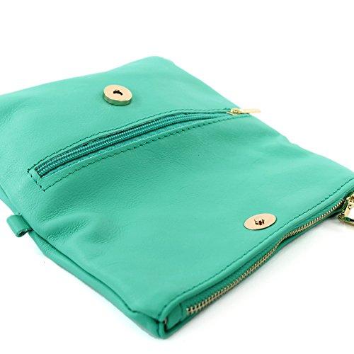 modamoda de -. Borsa ital Borsa piccola in pelle di spalla delle signore sacchetto di frizione polso Bag T95 pelle Aquamarin