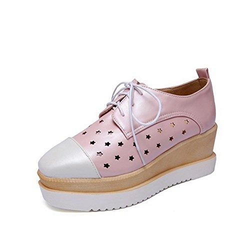 VogueZone009 Femme Pu Cuir Couleurs Mélangées Lacet Fermeture D'Orteil Carré Chaussures Légeres Rose
