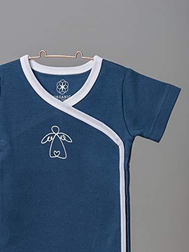 Organic by Feldman Unisex Baby Body Kurzarm Wickelbody aus Bio Baumwolle, GOTS Zertifiziert, Schutzengel Ozeanblau, (50/56) - 2