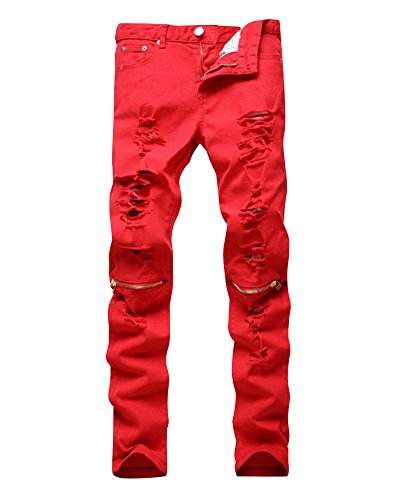 Herren Fashion Elastizität Jeans Beinhosen Einfarbig Slim Fit Freizeit Lang Hosen Rot 30