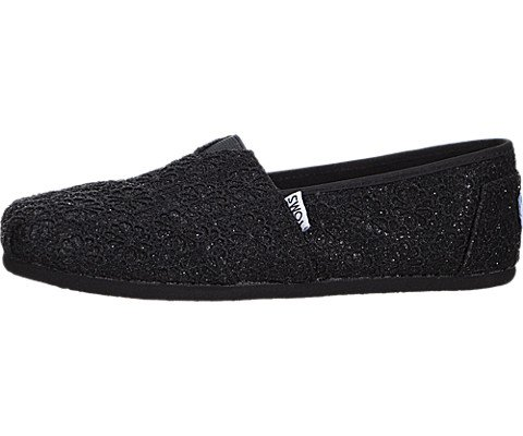 Toms Seasonal Classic Slip On Black Crochet Glitter - 4 UK