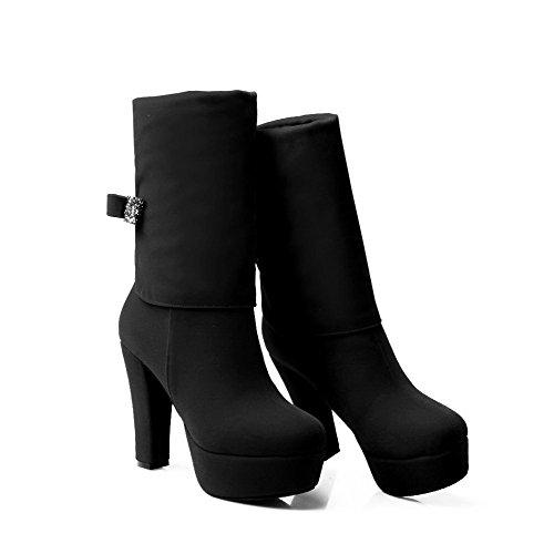 AllhqFashion Damen Hoher Absatz Rein Rund Zehe Ziehen auf Stiefel, Schwarz, 36