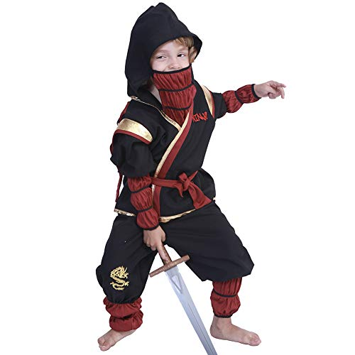 UYSK Halloween Phantom Ninja Martial Warrior Kind Junge Cosplay Kostüm Party Stage Performance Kostüm Standard Kaufen Schwarz Größe: M Geeignet für Alter: 4-8 Jahre - Ninja Warrior Kind Kostüm