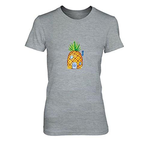 - Damen T-Shirt, Größe: M, Farbe: grau meliert (Kinder Spongebob Schwammkopf Kostüme)