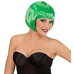 Idea Regalo - NET TOYS Parrucca caschetto Bob con frangetta Verde Smeraldo da Donna per Costume Anni 20 -
