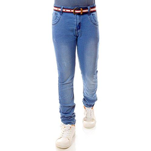 Hallo Boy Jungen Jeans Kinder Hose Style Riss Akzente Strech Jeanshosen 21745, Größe:140