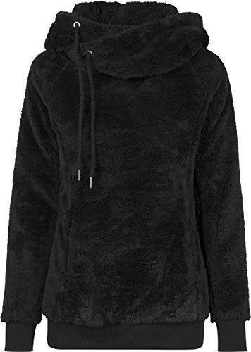 Urban Classics Damen Kapuzenpullover Long Teddy Hoodie, lang geschnittener Teddy-Fleece-Pullover mit hohem Kragen, Kapuze und Känguru -Tasche - Farbe black, Größe L