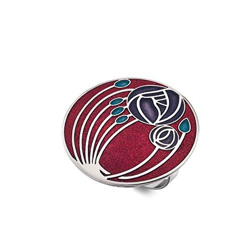 Schal Ring–Emaille Mackintosh Rosen und Knospen–Rot/Lila (Ringe Box Schal Schmuck Lila)