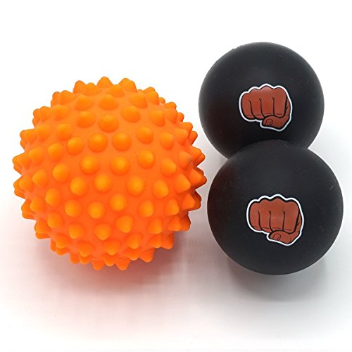 Massageball Set für Sportler - Zwei (2) Vollgummi Massagebälle + Ein (1) Igelball mit Noppen + Praktische Reisetasche [Schwarze und Orange] - Große Valet