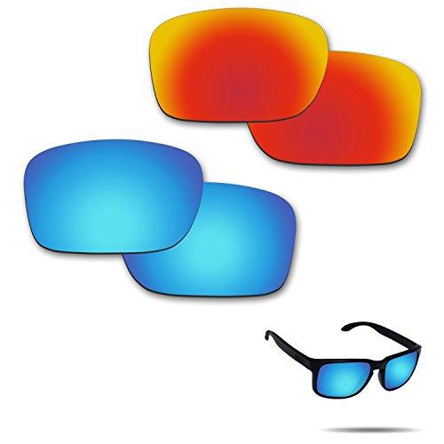 fiskr anti-saltwater Polarisierte Ersatz Gläser für Oakley Holbrook Sonnenbrille 2Paar verpackt, Fire Red & Ice Blue