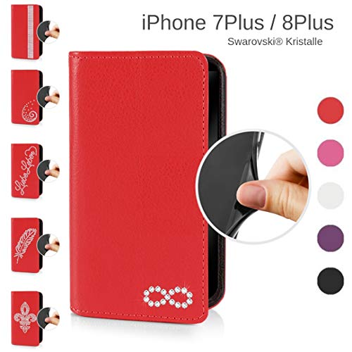 eSPee Handyhülle kompatibel mit Apple iPhone - 8 Plus - unzerbrechliche Schutzhülle aus Silikon mit Swarovski Kristallen Unendlichkeit Magnetverschluss und Fach in Rot - Swarovski Crystal Iphone Case