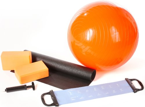Ultrasport Yogaset 6-teilig mit Ball, Yogamatte, Pumpe, 2 Yogablöcke & Latexband – Starterset mit Zubehör für Yoga…