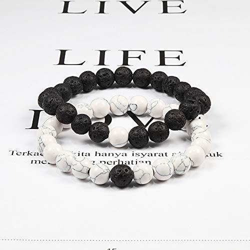 Imagen de pulseras 2pcs / set parejas distancia pulseras de trenzas piedra natural blanco y negro ying yang beads pulsera best friend strand jewelry joyería alternativa
