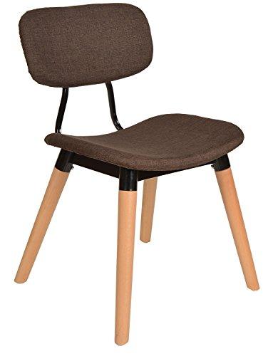 ts-ideen Sedia da tavolo stile retró anni '50 rivestita in tessuto color Marrone Scuro