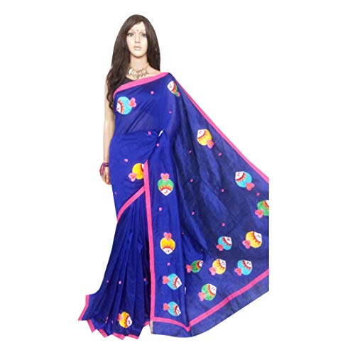 Blue Cotton Silk Saree Designer handbemalte Motive indische Frauen Sari aus Westbengal 513 Motive Saree