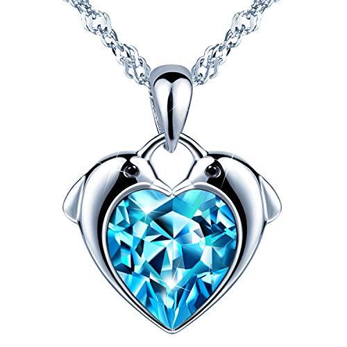 Unendlich U Delfine Damen Herzkette Mädchen Halskette 925 Sterling Silber Blau Zirkonia Anhänger Kette mit Anhänger, Silber (Kind Halskette)
