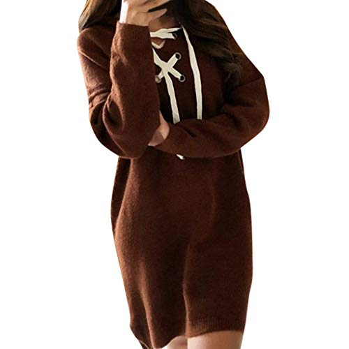Einfarbig Pullove Slim Fit Langarm Mit Kapuze Verbandkleid Brown M ()