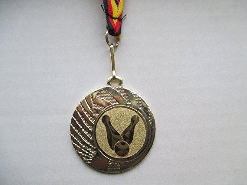 10 x Medaillen aus Stahl mit einem Bowling Bowlen Logo inkl. Medaillen Band Farbe: Gold