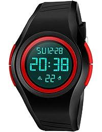 ETOWS® Reloj de Pulsera Digital para niños, Resistente al Agua, con Alarma/