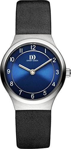 Danish Design Women's Quartz Watch with Blue Dial Analogue Display and Black Leather Strap DZ120341