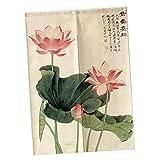 Fenteer Japanische Baumwolle Türvorhang Tür Vorhang Gardine Balkonvorhang Deko - Lotus-85x150cm