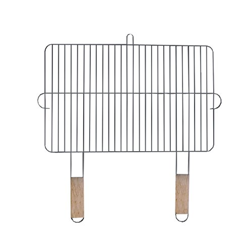 Grillrost 54x34cm mit 2 Holzgriffen Stahl verchromt Grillgitter Grillaufsatz Ersatzrost