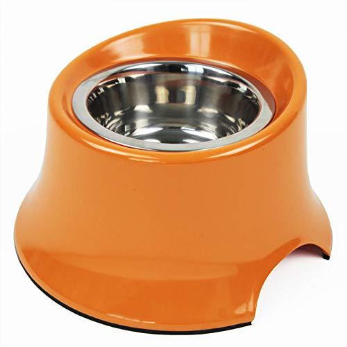 THFPetting Copriwater e Copri Serbatoio per WC Ciotola in Acciaio Inox per Cani Ciotola per Cani Bocca obliqua Ciotola Alta Orecchie Lunghe Ciotola per Cani S-Piccolo Arancio
