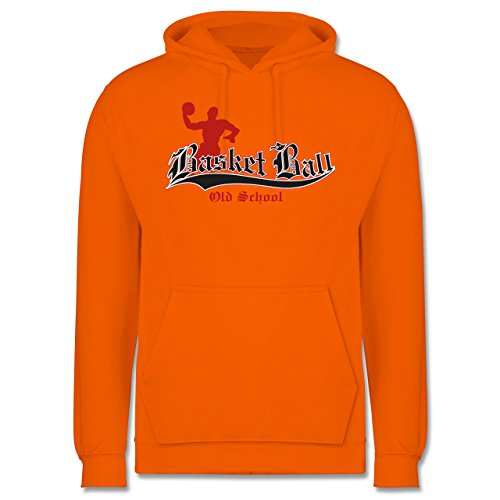 Basketball - Basketball Old School - XS - Orange - JH001 - Herren Hoodie (Kapuzen-trainingsoutfit)
