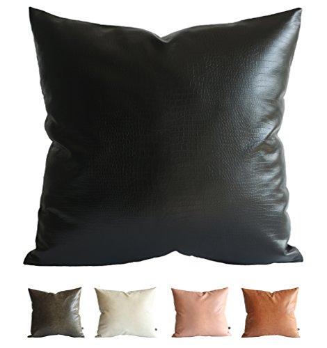 Faux-leder-dekorative Kissen (Kdays Kunstleder Krokodil Cover Wurfkissen Kissenbezug dekorativ für Couch-Kissenhülle 22 x 22 Zoll Schwarz)
