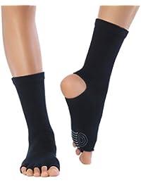 Knitido Yoga Flow   Zehensocken für Yoga, Pilates und Tanz mit offenen Zehen und ABS anti-rutsch Beschichtung, aus Baumwolle (83%), für Damen und Herren (bis Gr. 46)