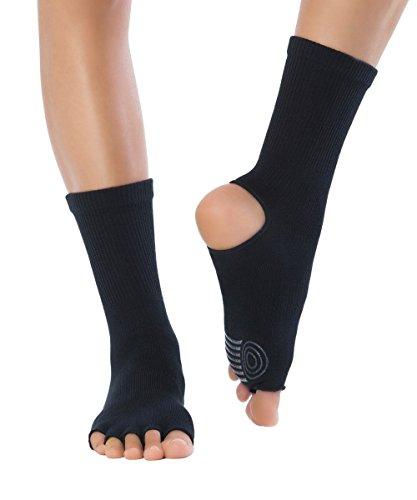 Knitido Yoga-Socken Yoga Flow, Rutschfeste Zehensocken für Yoga, Pilates und Tanz mit offenen Zehen und Grip, aus Baumwolle, für Damen und Herren, Größe:39-42, Farbe:Obsidian