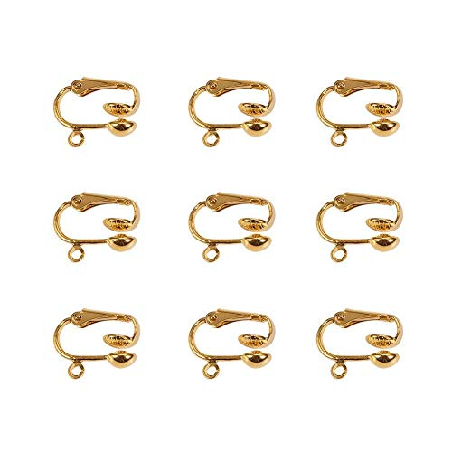 PandaHall - Eisen Clip on Earrings Ohrclips Ohrklips, Goldene Farbe, Nickelfrei, ca. 13.5 mm breit, 15.5 mm lang, 7 mm dick, Bohrung: ca. 2 mm