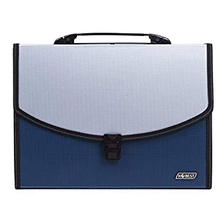 UBaymax A4 Document File Folder, 12 Pockets Folder A4 Wallet with Handle Expanding File Organiser Paper Divider, Concertina File Accordion Folder, Storage Filing Box for Office School Homework (Blue)