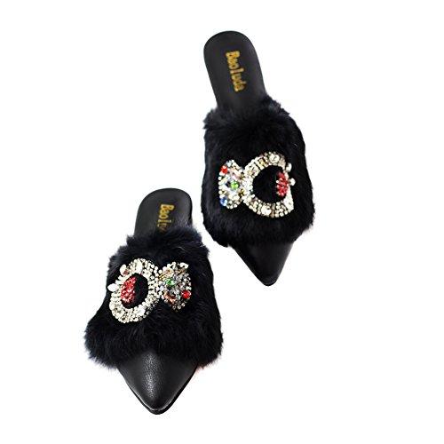 Pyrrha Hua Femmes Chaussures Pantoufles En Fourrure Noir Fait Main Multicolore Art Déco Noir De Taille 38 -2