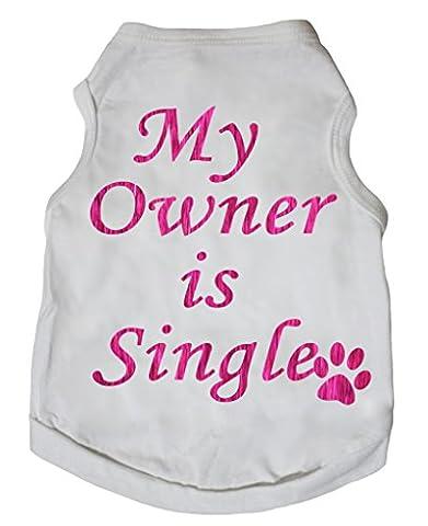 petitebelle Pet Supply Blanc en coton pour femme Rose Mon propriétaire est simple robe pour chien