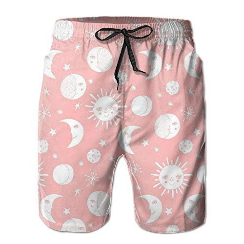 magic ship Sun Moon Stars Men's Beach Shorts with Pockets Quick Dry Summer Shorts Swim Trunks S -