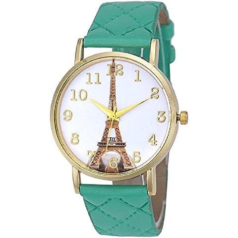 ZARU Las mujeres de cuero de imitación de la torre Eiffel de cuarzo analógico reloj de pulsera MG