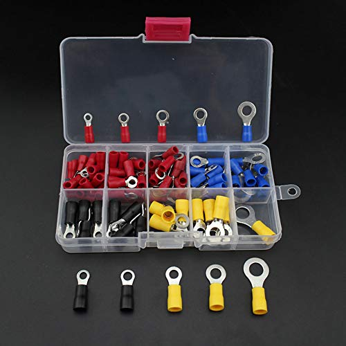 Dandeliondeme Crimp Terminal, 102Pcs Ring Draht Endklemme Kupfer Crimp Connector Isolierte Kabel Set mit Box