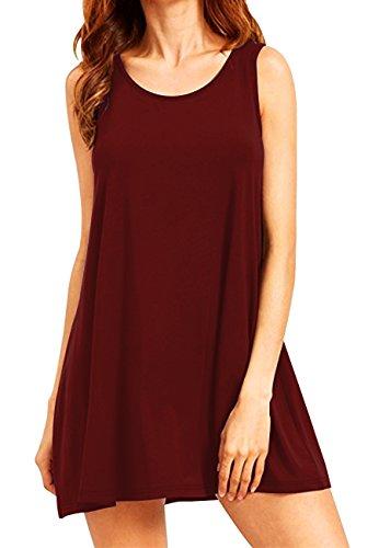 OMZIN Damen Ärmellos Top T-Shirt Swing Kleid mit Taschen Burgundy M