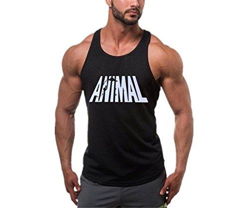 YeeHoo Herren Animal Fitness & Bodybuilding Tank Top Stringer Unterhemd Gym Trägershirt Sport Vest (Fitness Animal)