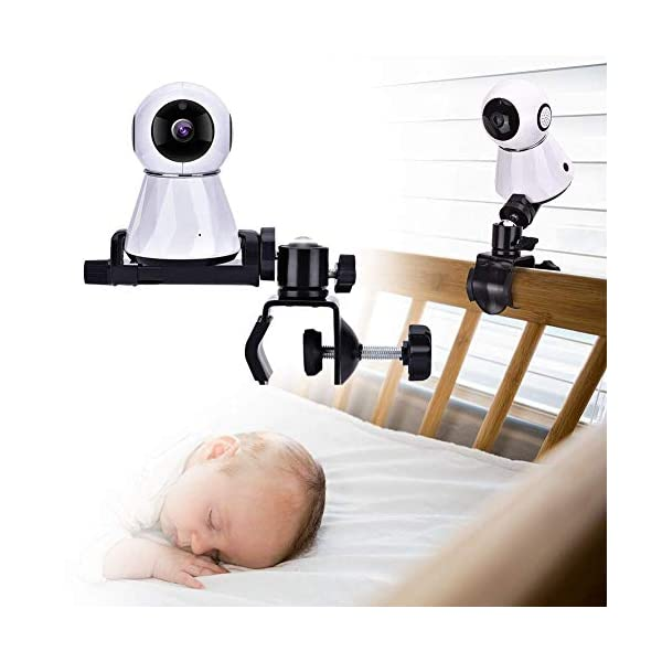"""Eurobuy Baby Camera Monitor Mount, 360 Degrees Rotatable Adjustable Holder, Keep Your Baby in Sight, Suitable for Most Baby Monitors Equipment Eurobuy ☺【Always Keep An Eye On Your Baby】- This upgraded baby camera mount adopts cardan joint and supports 360 degree rotation, helps you take better care of your care. ☺【Compatible With Most Cameras】- With a adjustable mount, suitable for camera bottom diameters from 52mm to 100mm, as well as baby cameras with 1/4"""" threaded or tripod mount. ☺【Protective Guard & Anti-skid Silicone Pad】- Protective guards of clip help to hold the camera more stable and firmly; Soft anti-skid silicone pas to protect your device from scratches. 1"""